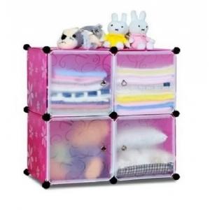 Tủ nhựa đa năng 4 ngăn Tupper Cabinet TC-4P-W (Hồng cửa trắng)