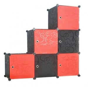 Tủ nhựa đa năng 6 ngăn Tupper Cabinet TC-6B-R (Đen phối đỏ)