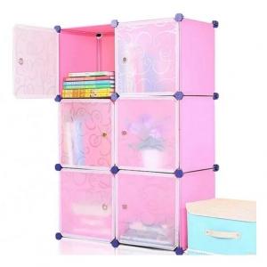 Tủ nhựa đa năng 6 ngăn Tupper Cabinet TC-6P-W3 (Hồng cửa trắng)
