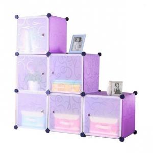 Tủ nhựa đa năng 6 ngăn Tupper Cabinet TC-6PP-W (Tím cửa trắng)