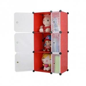 Tủ nhựa đa năng 6 ngăn Tupper Cabinet TC-6R-W (Đỏ cửa trắng)