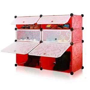 Tủ giày dép đa năng 6 ngăn Tupper Cabinet TC-6R-W3 (Đỏ cửa trắng)