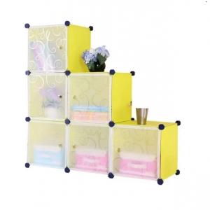 Tủ nhựa đa năng 6 ngăn Tupper Cabinet TC-6Y-W2 (Vàng cửa trắng)