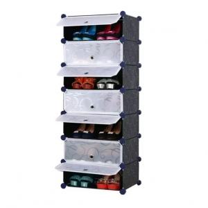 Tủ giày dép đa năng 7 ngăn Tupper Cabinet TC-7B-W (Đen cửa trắng)