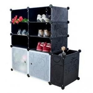Tủ giày dép đa năng 9 ngăn Tupper Cabinet TC-9B-W2 (Đen cửa trắng)