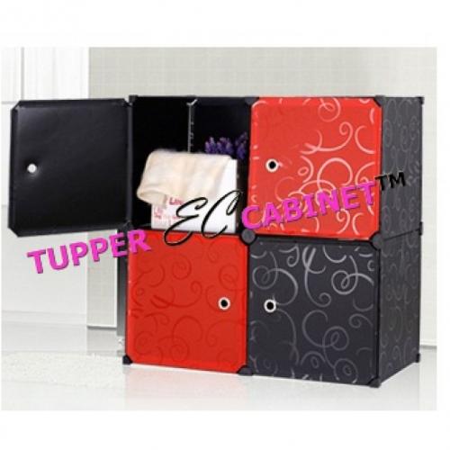 Tủ nhựa đa năng 4 ngăn Tupper Cabinet TC-4B-R (Đen phối đỏ) -1