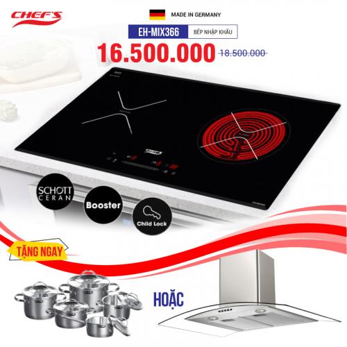 Bếp từ đôi hồng ngoại cảm ứng CHEFS EH-MIX366