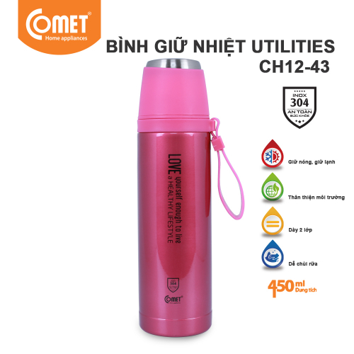 Bình giữ nhiệt Utilities 450ml Comet CH12-43 - Hồng