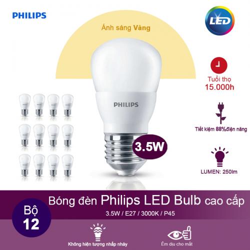 (Bộ 12) Bóng đèn Philips LEDBulb 3.5W 3000K đuôi E27 230V P45 - Ánh sáng vàng