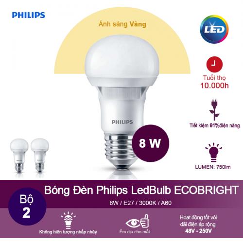 (Bộ 2) Bóng đèn Philips Ecobright LEDBulb 8W 3000K đuôi E27 A60 - Ánh sáng vàng