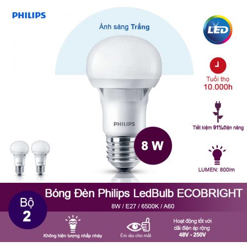(Bộ 2) Bóng đèn Philips Ecobright LEDBulb 8W 6500K đuôi E27 A60 - Ánh sáng trắng