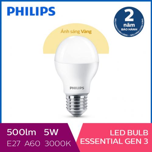 Bóng đèn Philips LED Essential Gen3 5W 3000K E27 A60 - Ánh sáng vàng