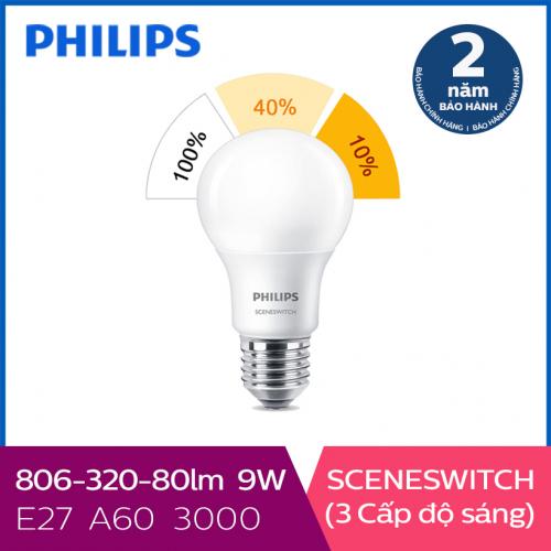 Bóng đèn Philips LED Scene Switch 3 cấp độ chiếu sáng 9W 3000K E27 - Ánh sáng vàng