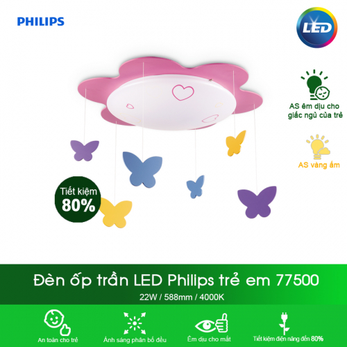 Đèn trần phòng trẻ em Philips 77500 Butterfly 22W