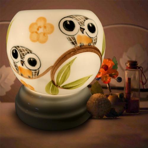 Đèn xông tinh dầu gốm Bát Tràng - Đôi Chim Cú-2