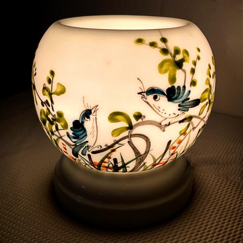 Đèn xông tinh dầu gốm Bát Tràng - Đôi Chim Xanh-2