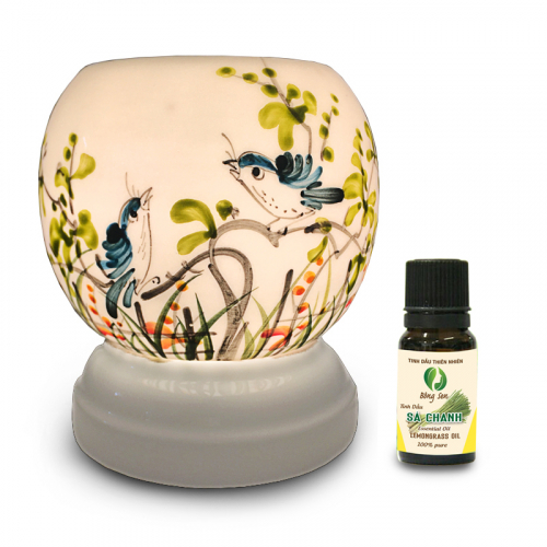 Đèn xông tinh dầu gốm Bát Tràng - Đôi Chim Xanh-1