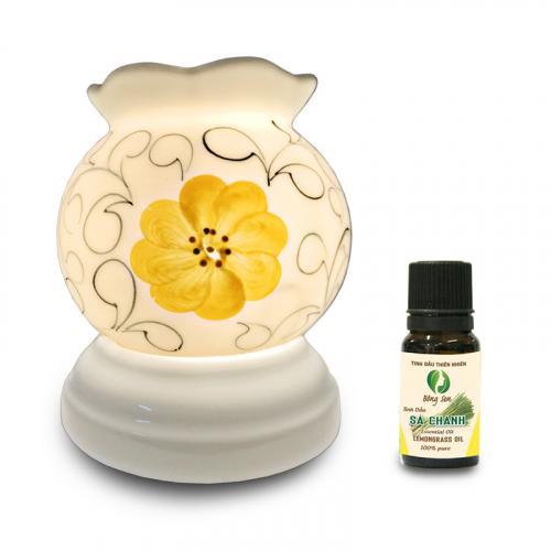 Đèn xông tinh dầu gốm Bát Tràng - Hoa Vàng-4