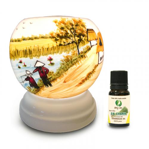 Đèn xông tinh dầu gốm Bát Tràng - Phong Cảnh Câu Cá-4