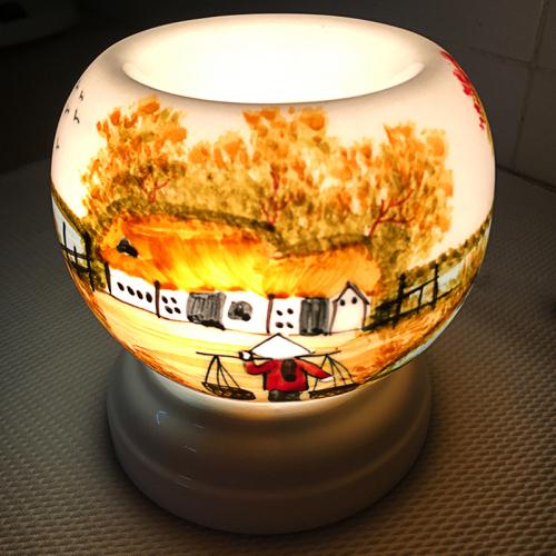 Đèn xông tinh dầu gốm Bát Tràng - Phong Cảnh Đồng Lúa-3