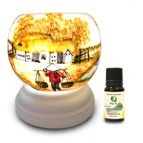 Đèn xông tinh dầu gốm Bát Tràng - Phong Cảnh Đồng Lúa