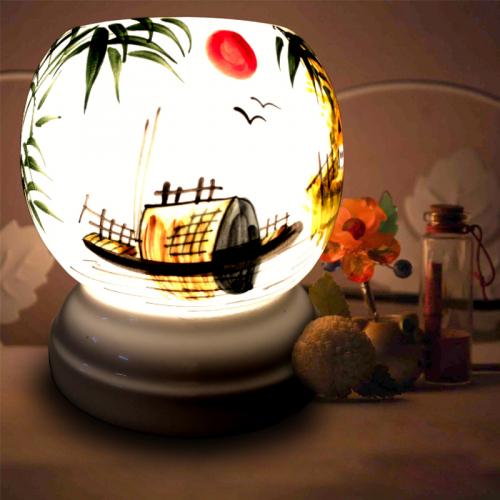Đèn xông tinh dầu gốm Bát Tràng - Phong Cảnh Thuyền-1