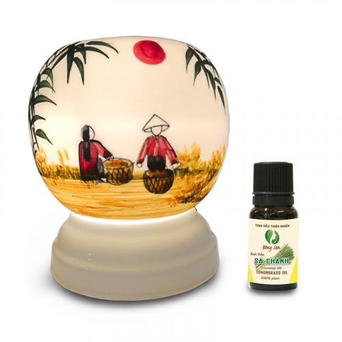Đèn xông tinh dầu gốm Bát Tràng - Phong Cảnh Tre-3