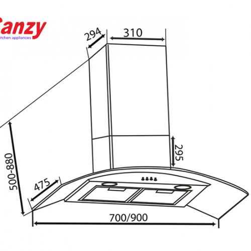 Máy hút mùi bếp kính cong 7 tấc CANZY CZ-70D1-1
