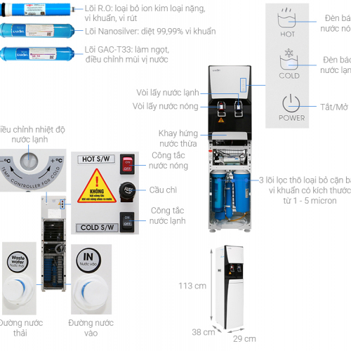 Máy lọc nước RO nóng lạnh 2 vòi KAROFI HCV351-WH-1