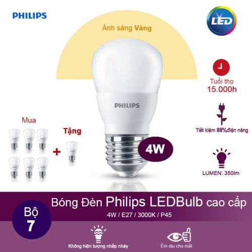 (Mua 6 tặng 1) Bóng đèn Philips Ledbulb 4W 3000K đuôi E27 220V P45 - Ánh sáng vàng