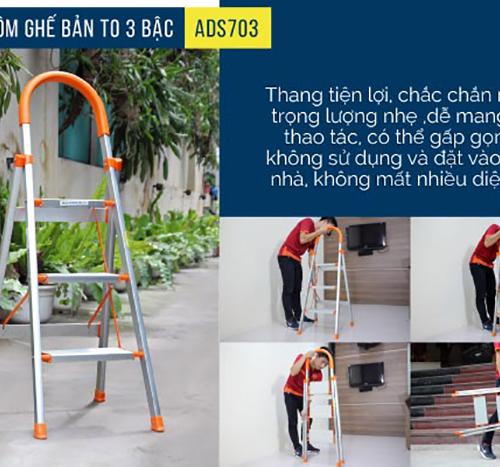 Thang nhôm ghế 3 bậc xếp gọn Advindeq ADS703-6