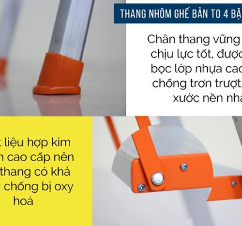 Thang nhôm ghế 4 bậc xếp gọn Advindeq ADS704-6