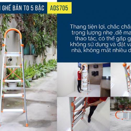 Thang nhôm ghế 5 bậc xếp gọn Advindeq ADS705-6