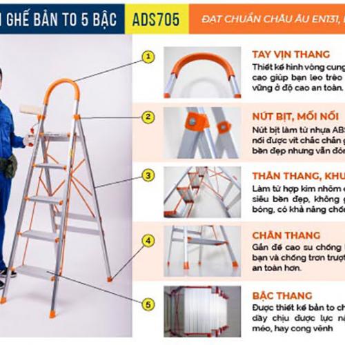 Thang nhôm ghế 5 bậc xếp gọn Advindeq ADS705-7