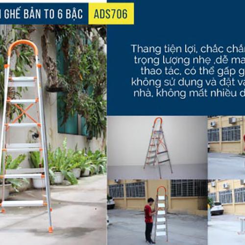 Thang nhôm ghế 6 bậc xếp gọn Advindeq ADS706-4