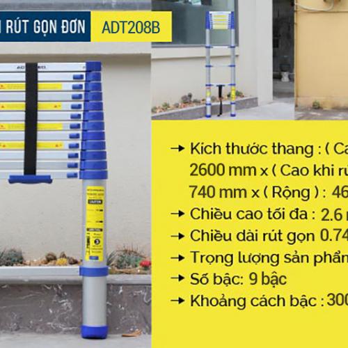 Thang nhôm rút gọn đơn Advindeq ADT208B-2