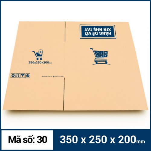 Thùng Carton gói hàng kích thước 350x250x200mm mẫu giỏ hàng-3