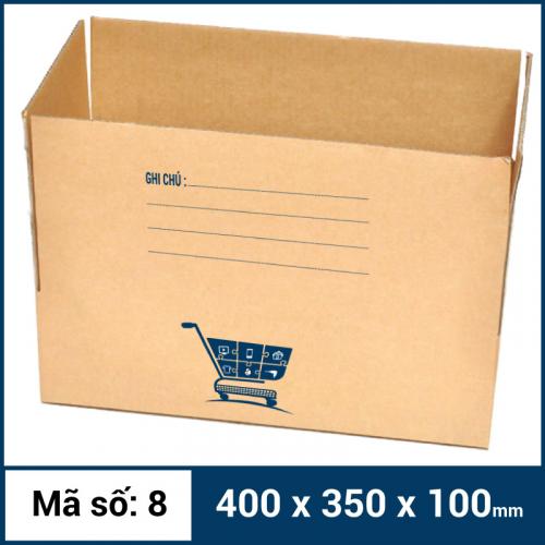 Thùng Carton gói hàng kích thước 400x350x100mm mẫu giỏ hàng-1