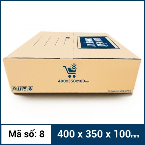 Thùng Carton gói hàng kích thước 400x350x100mm mẫu giỏ hàng-2