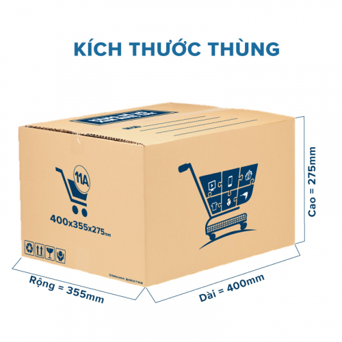 Thùng Carton gói hàng kích thước 400x355x275mm mẫu giỏ hàng-5