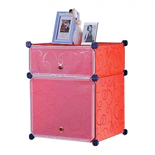 Tủ nhựa đa năng 2 ngăn Tupper Cabinet TC-2R-W (đỏ cửa trắng)