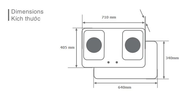 Bếp ga âm hồng ngoại Fujipan G-Cooker FJ-8990-HN - Pép hâm 2 vòng lửa