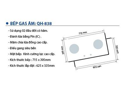 Bếp gas âm Queenhouse QH-838