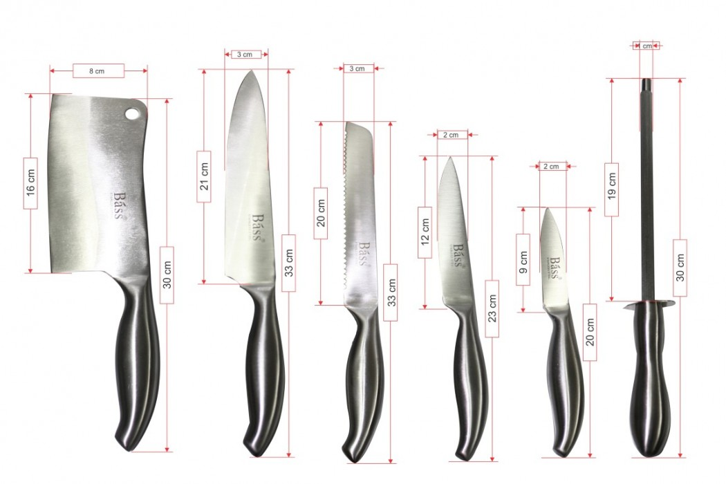 Bộ dao kéo làm bếp 11 món Bass IN.01-004