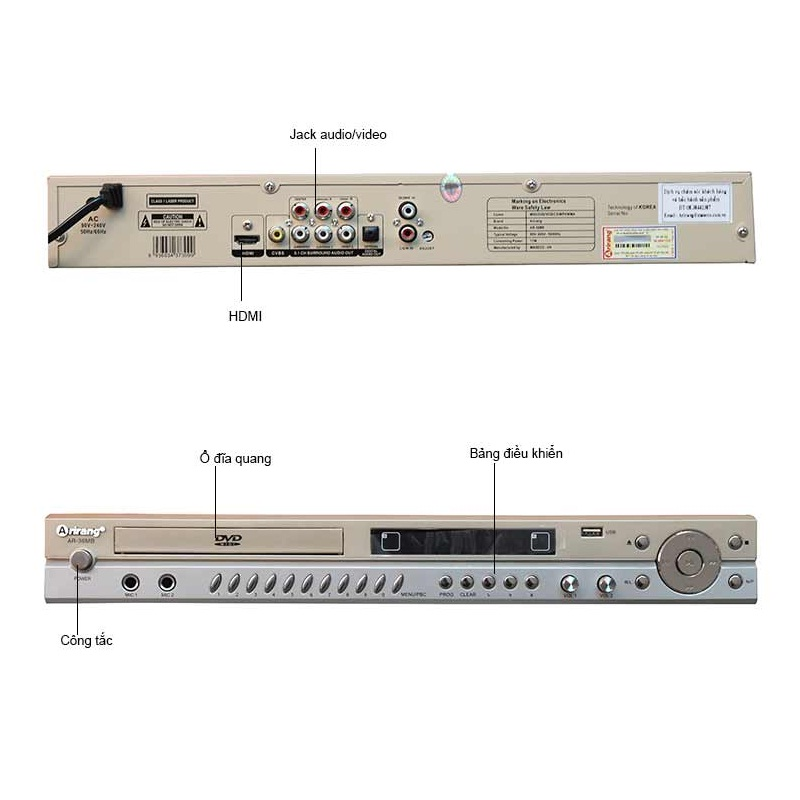 Đầu DVD Karaoke Arirang AR-36MB