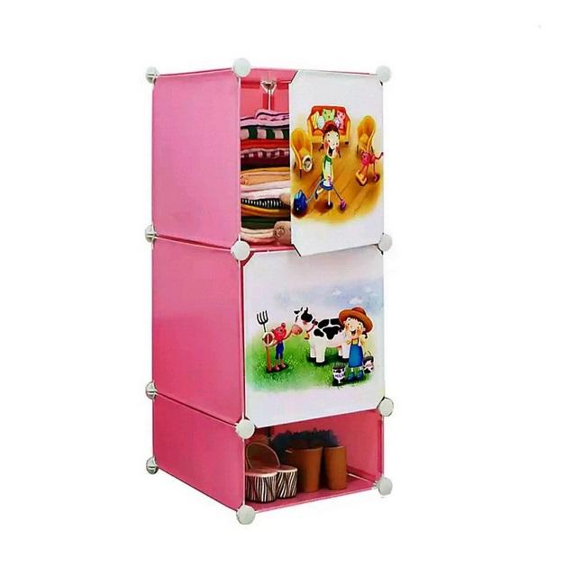 Tủ nhựa 3 ngăn Tupper Cabinet TC-3P-C (Hồng cửa hoạt hình)