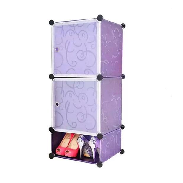 Tủ nhựa 3 ngăn Tupper Cabinet TC-3PP-W2 (tím cửa trắng)