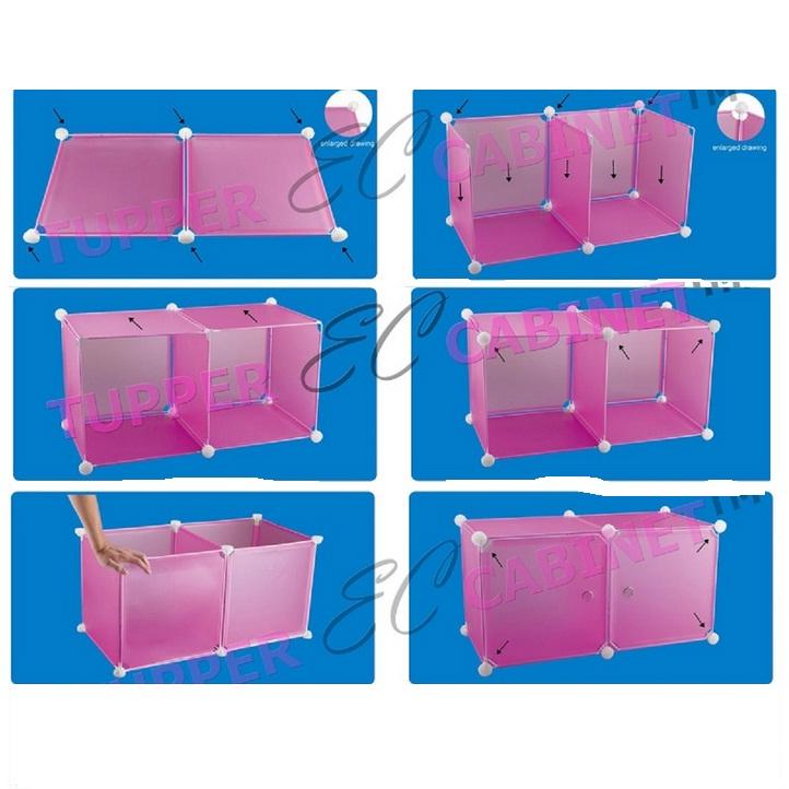 Tủ nhựa đa năng 6 ngăn Tupper Cabinet TC-6P-W1 (Hồng phối trắng)