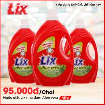 Nước giặt Lix nha đam Aloe vera 4Kg - Bảo vệ da tay - NG400