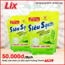 Nước Rửa Chén LIX Túi 3.5KG Siêu Sạch Hương Chanh - N4301